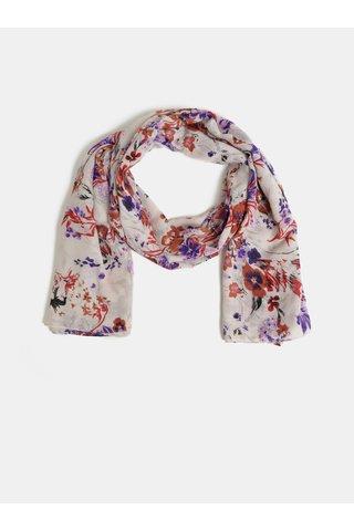 Krémový květovaný šátek Pieces Bine