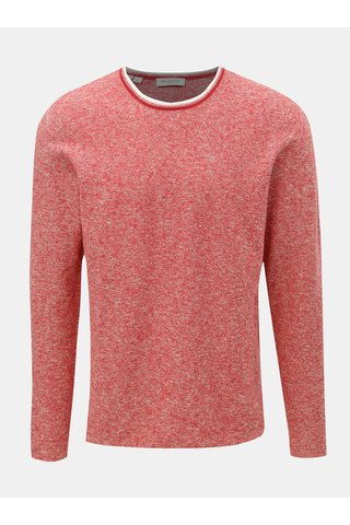 Červený lněný žíhaný svetr Selected Homme New clash