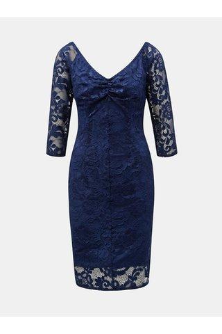 Tmavě modré krajkové pouzdrové šaty Paper Dolls