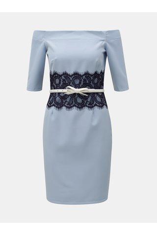 Světle modré šaty s odhalenými rameny Paper Dolls