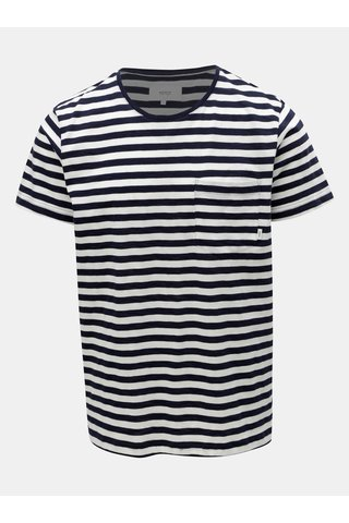 Bílo-modré pánské pruhované tričko s kapsou Makia Verkstad