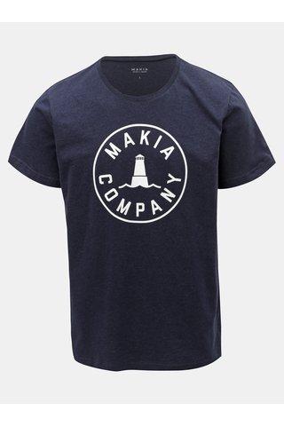 Tmavě modré pánské tričko s potiskem Makia Beacon