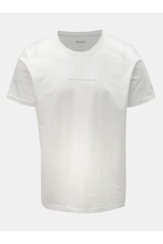 Bílé pánské tričko s potiskem na zádech Makia Vista