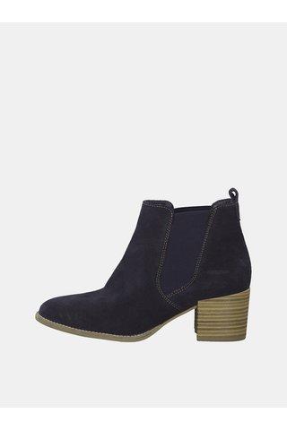 Tmavě modré semišové kotníkové boty Tamaris Paula