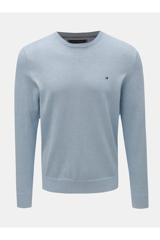 Světle modrý pánský svetr s příměsí hedvábí Tommy Hilfiger