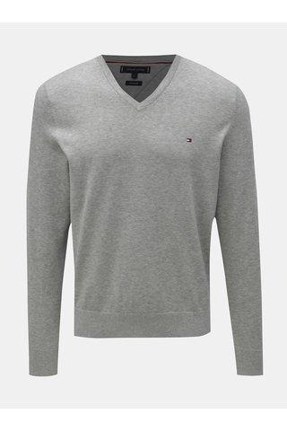 Šedý pánský žíhaný svetr s příměsí hedvábí Tommy Hilfiger