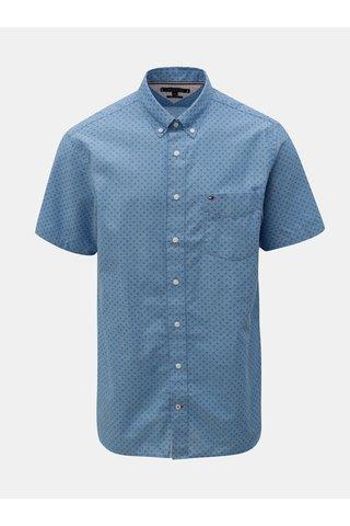 Modrá pánská vzorovaná regular fit košile s příměsí lnu Tommy Hilfiger