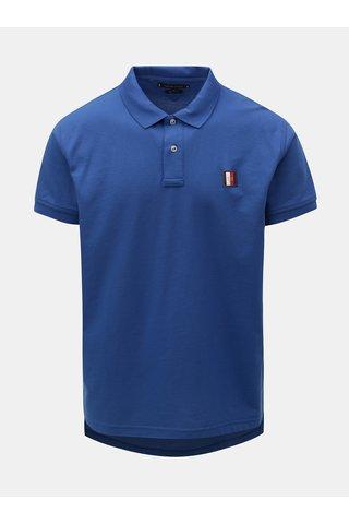 Modré pánské reguar fit polo tričko s nášivkou Tommy Hilfiger