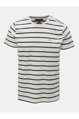 Černo-bílé pánské pruhované slim fit tričko Tommy Hilfiger
