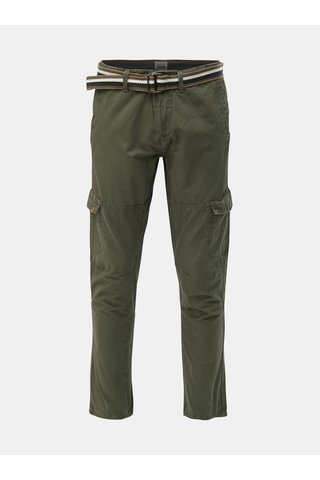 Khaki regular fit kalhoty s kapsami a páskem Blend