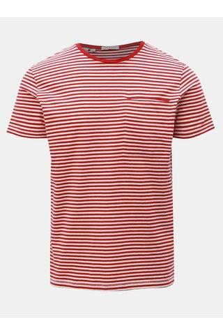 Červené pruhované tričko s náprsní kapsou Selected Homme Tim