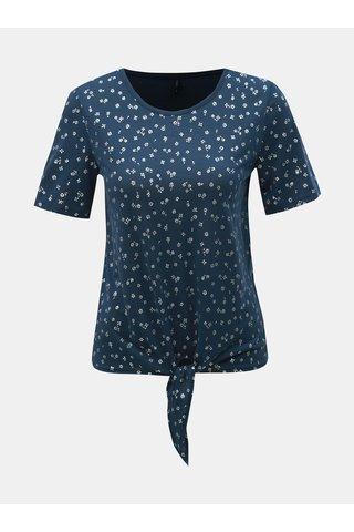 Tmavě modré květované tričko s uzlem ONLY Isabella