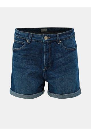 Tmavě modré džínové kraťasy s vysokým pasem ONLY Lola