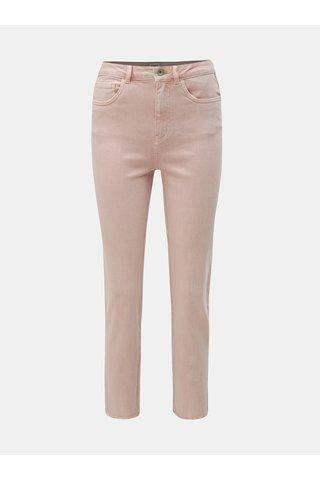 Starorůžové straight fit džíny s nezakončeným lemem ONLY Emily