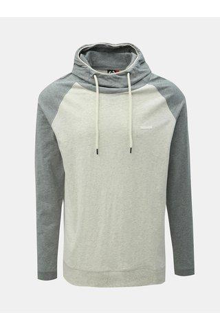 Světle šedé pánské žíhané tričko s kapucí Ragwear Edison