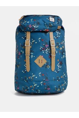 Petrolejový dámský květovaný voděodudivý batoh The Pack Society 23 l