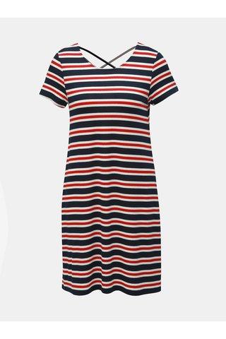 Červeno-modré pruhované šaty s pásky na zádech ONLY Bera