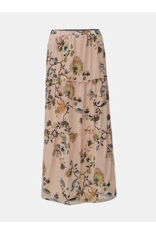Růžová vzorovaná maxi sukně VILA Almira