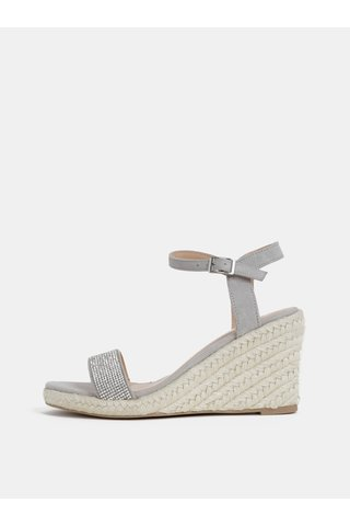 Světle šedé sandálky v semišové úpravě na klínku Dorothy Perkins