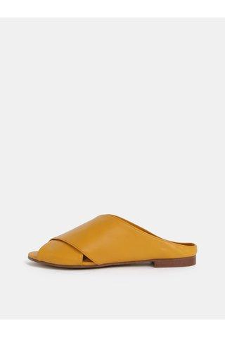 Hořčicové kožené pantofle ALDO Rireviel