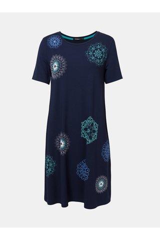 Tmavě modré šaty s potiskem Desigual Liricaa