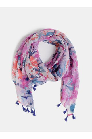 Fialový dámský květovaný šátek s třásněmi Tom Joule Sirena