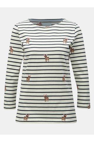 Krémové pruhované tričko s motivem psů Tom Joule Harbour print