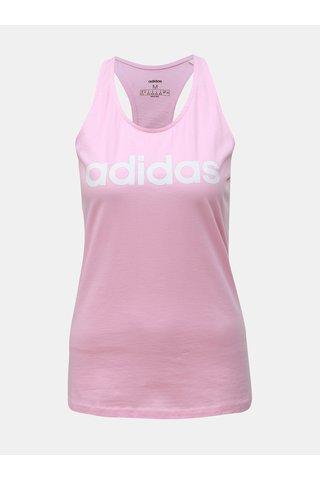 Růžové dámské tílko s potiskem adidas CORE