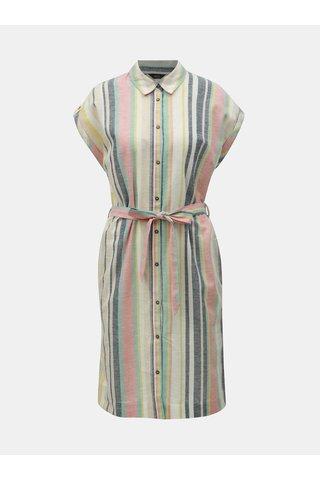 Růžovo-béžové pruhované košilové šaty s příměsí lnu M&Co