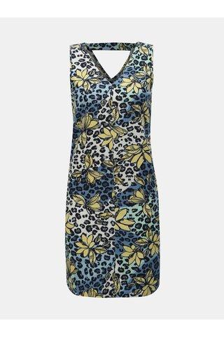Žluto-modré lněné květované šaty M&Co Petite