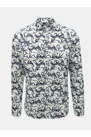 Bílá vzorovaná slim fit košile s příměsí lnu Jack & Jones Summer Print