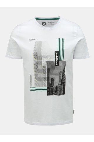 Bílé slim fit tričko s potiskem Jack & Jones Will