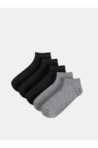 Sada pěti párů šedých nízkých ponožek Burton Menswear London
