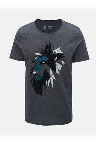 Tmavě modré žíhané slim fit tričko Jack & Jones Raimi
