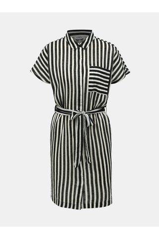 Bílo-černé pruhované košilové šaty s kapsou Noisy May Mai