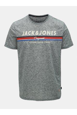 Šedé žíhané regular fit tričko s příměsí lnu Jack & Jones Tuco