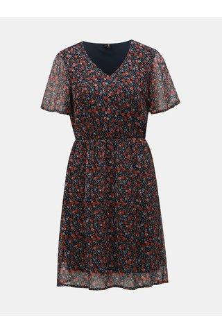 Tmavě modré květované šaty VERO MODA Wonda