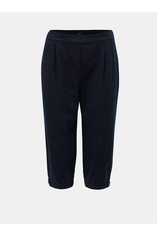 Tmavě modré lněné 3/4 kalhoty VERO MODA Anna