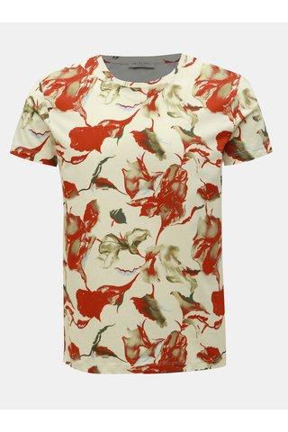 Červeno-krémové vzorované tričko Selected Homme Aiden