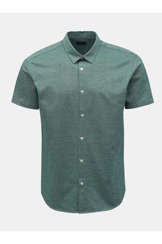 Zelená žíhaná slim fit košile s krátkým rukávem Selected Homme