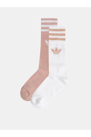 Sada dvou párů dámských ponožek v meruňkové a bílé barvě adidas Originals Solid Crew