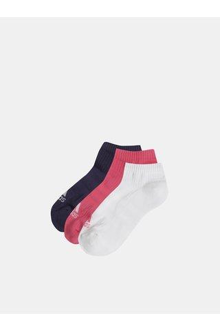 Sada tří párů dámských nízkých ponožek v bílé a růžové barvě adidas Performance