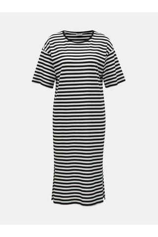 Bílo-černé pruhované basic šaty s rozparky Noisy May Mayden