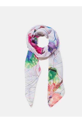 Růžovo-bílý vzorovaný šátek Desigual Logomotion