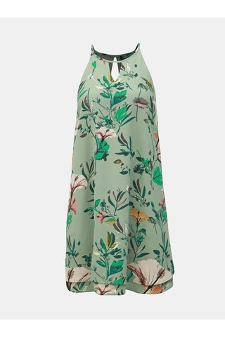 Zelené květované šaty s průstřihy ONLY Mariana