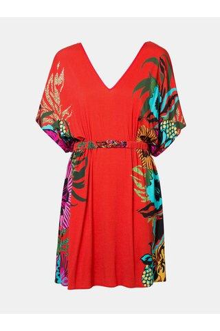 Červené květované šaty Desigual Valeria