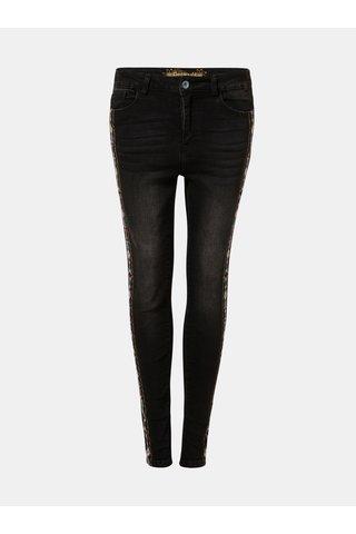 Tmavě šedé zkrácené skinny fit džíny s výšivkou Desigual Olimpia
