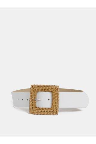Bílý pásek s ozdobnou sponou Pieces Floriana