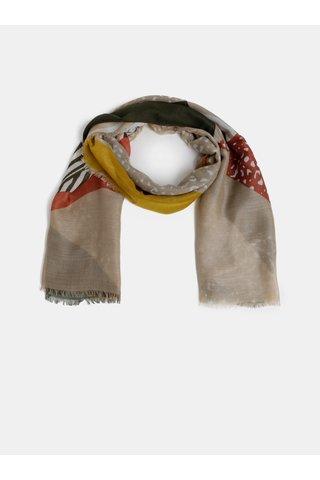 Khaki-béžový vzorovaný šátek Pieces Erle