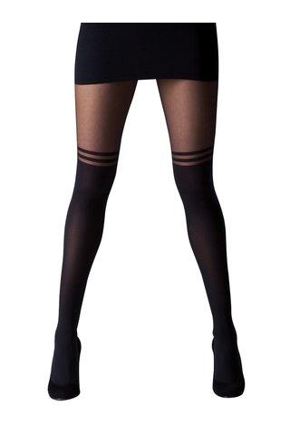 Černé punčochové kalhoty s dvojitými pruhy Gipsy